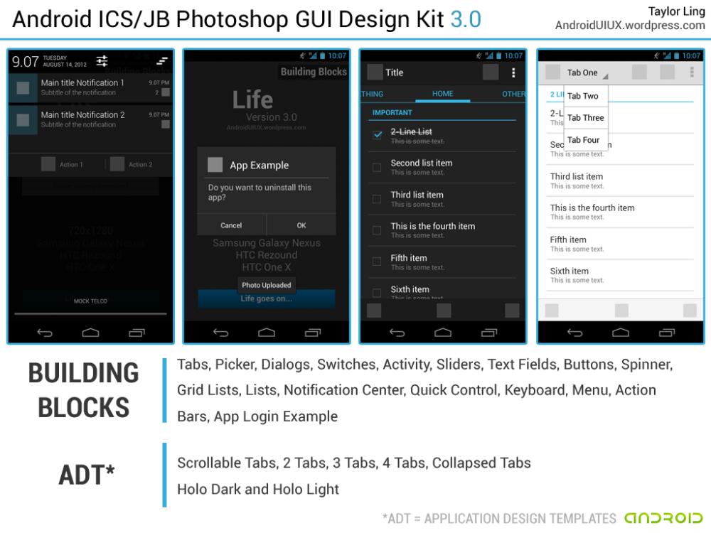 android ics  jb photoshop gui design kit  free download
