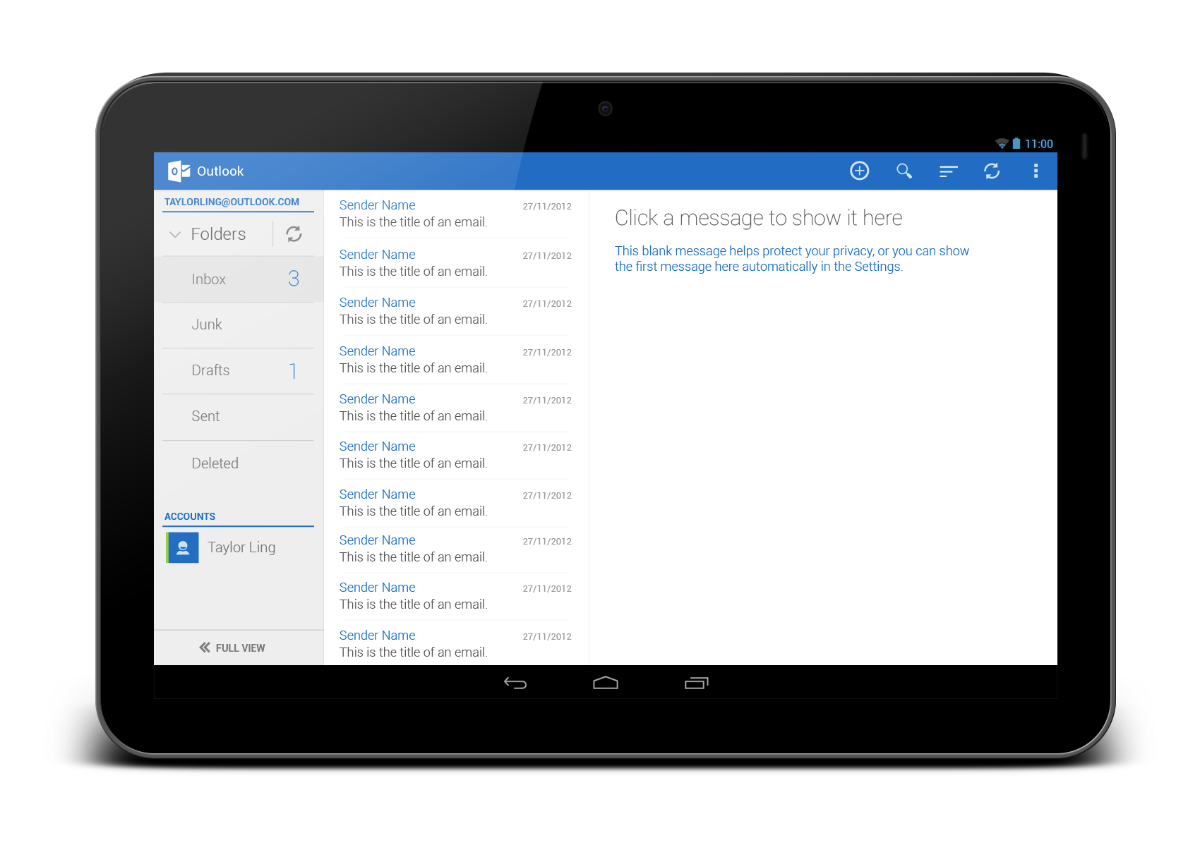 Outlook Com App Redesign Tablet Version Androiduiux