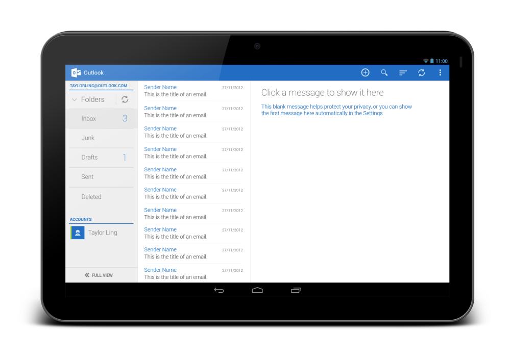 Outlook Tablet First Run