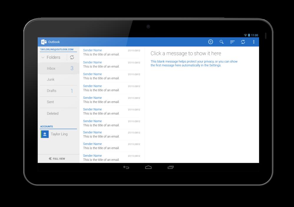 Outlook Tablet First Run