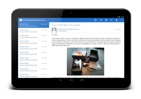 Outlook Tablet - Open Email - Full View
