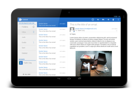 Outlook Tablet - Open Email