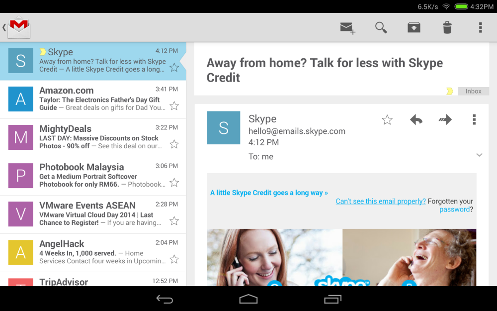 Gmail in Tablet