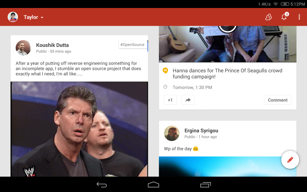 Google+ in Tablet